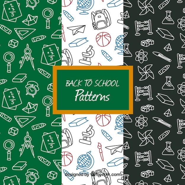 De volta à coleção de padrões de escola com diferentes elementos Vetor grátis