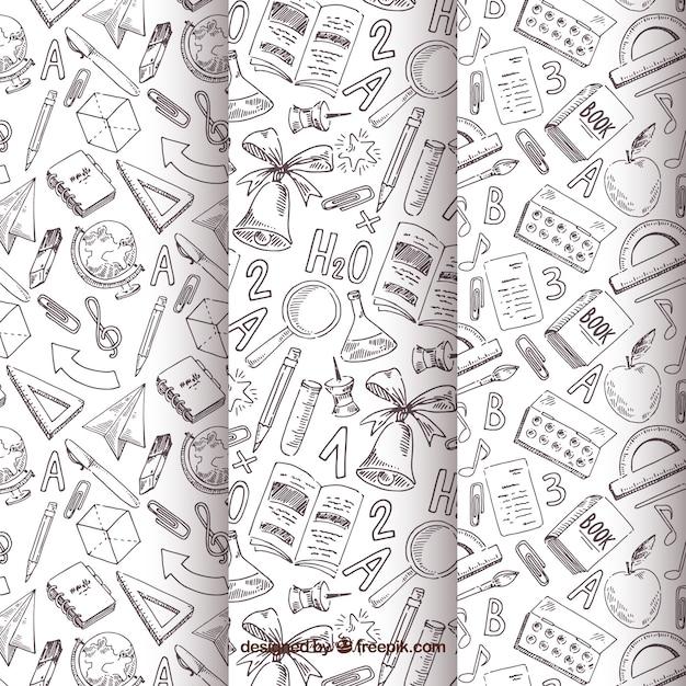 De volta à coleção de padrões de escola com elementos preto e brancos Vetor grátis