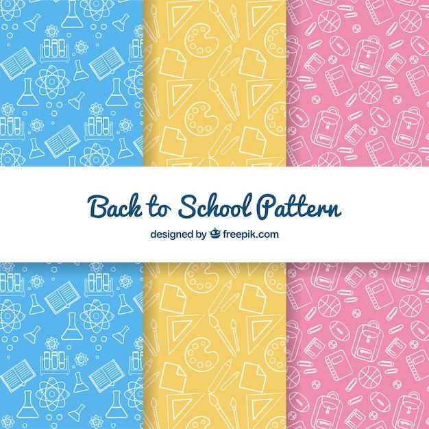 De volta à coleção de padrões de escola com elementos Vetor grátis