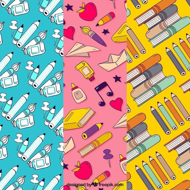 De volta à coleção de padrões de escola com livros e lápis Vetor grátis