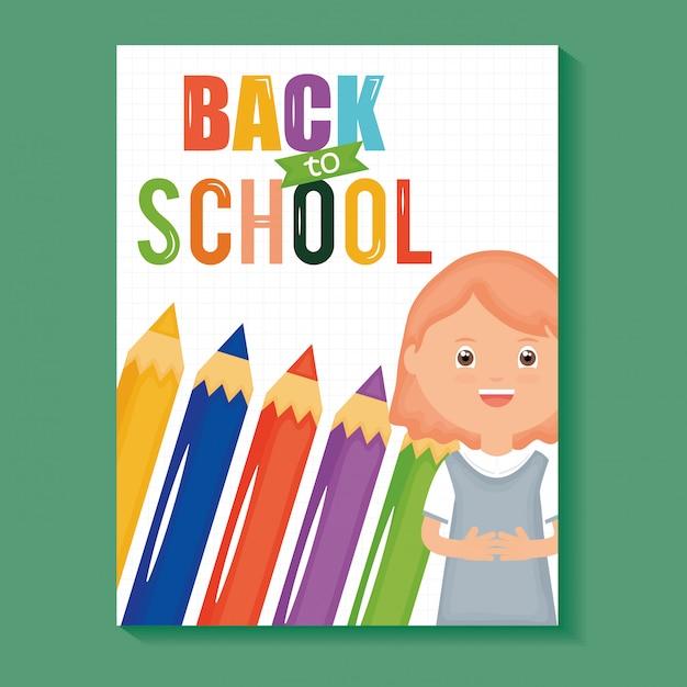 De volta à escola. aluna menina bonitinha com lápis de cores Vetor grátis