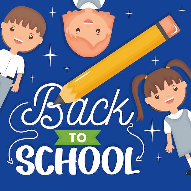 De volta à escola. bonitos pequenos estudantes com lápis e fonte Vetor grátis