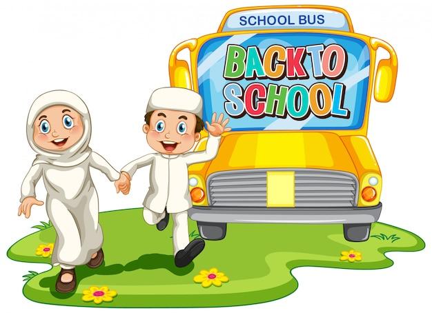De volta à escola com caráter de estudante muçulmano Vetor grátis