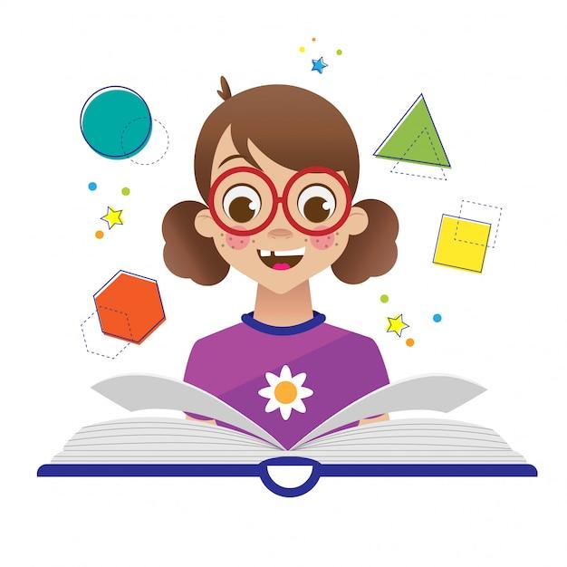 De volta à escola com criança e livro Vetor Premium