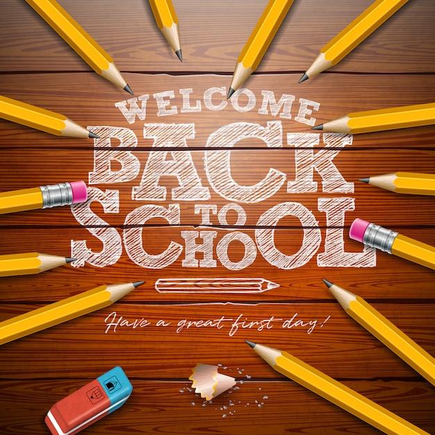 De volta à escola com lápis de grafite e letras de tipografia Vetor Premium