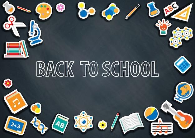 De volta à escola com vetor de fundo de lousa Vetor Premium