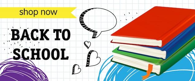 De volta à escola, compre agora lettering com livros Vetor grátis