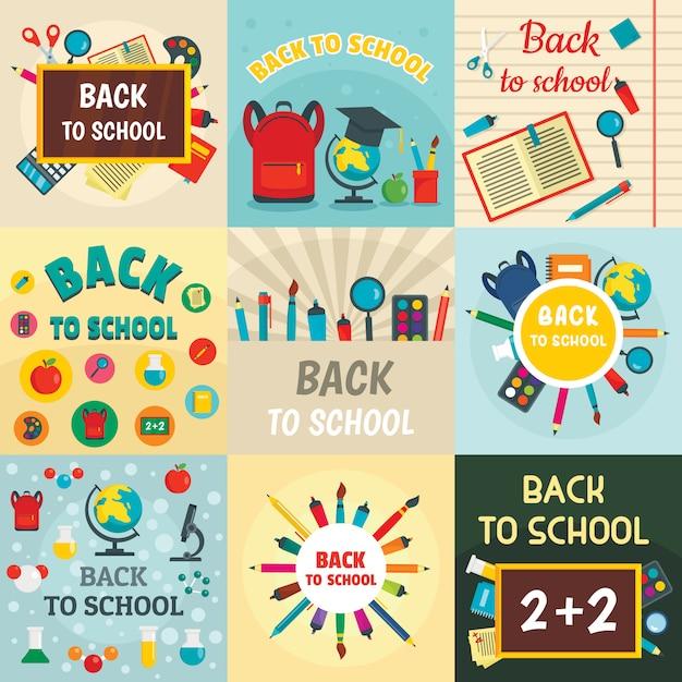 De volta à escola crianças ferramentas suprimentos fundo Vetor Premium
