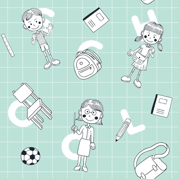 De volta à escola doodle padrão sem emenda Vetor Premium