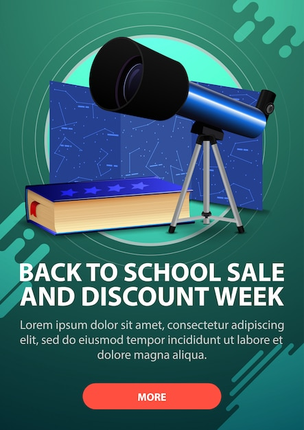 De volta à escola e semana de desconto, banner de desconto vertical em tons escuros para o seu site Vetor Premium
