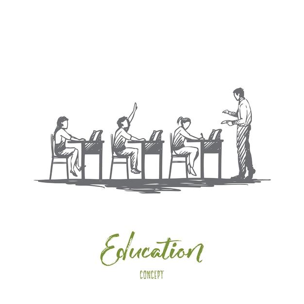 De volta à escola, estudo, educação, conhecimento, conceito de aprendizagem. mão desenhada alunos em sala de aula durante o esboço do conceito de lição. Vetor Premium