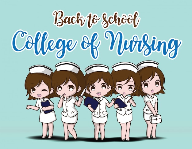 De volta à escola. faculdade de enfermagem. Vetor Premium