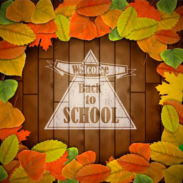 De volta à escola fundo de madeira com folhas Vetor Premium