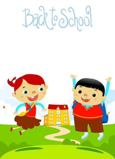 De volta à escola happy kids flat design ilustração Vetor Premium