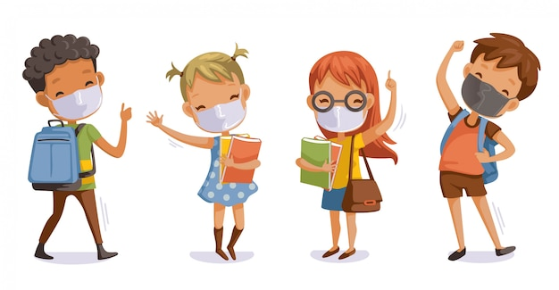 De volta à escola para o novo conceito normal covid-19. crianças usando máscaras sanitárias. gesto de estudantes relacionados ao coronavírus. Vetor Premium