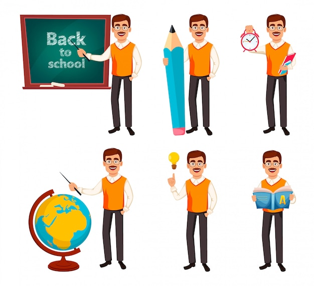 De volta à escola. personagem de desenho animado do homem professor Vetor Premium