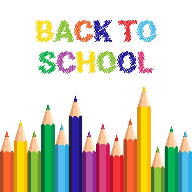 De volta à escola poster pincéis coloridos lápis pinceladas Vetor Premium