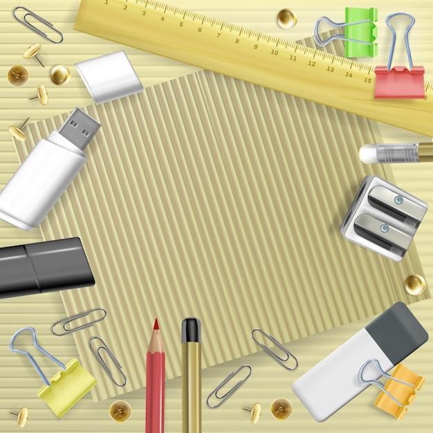 De volta à ilustração da faculdade dos artigos de papelaria para o cartão. modelo de educação escolar Vetor grátis