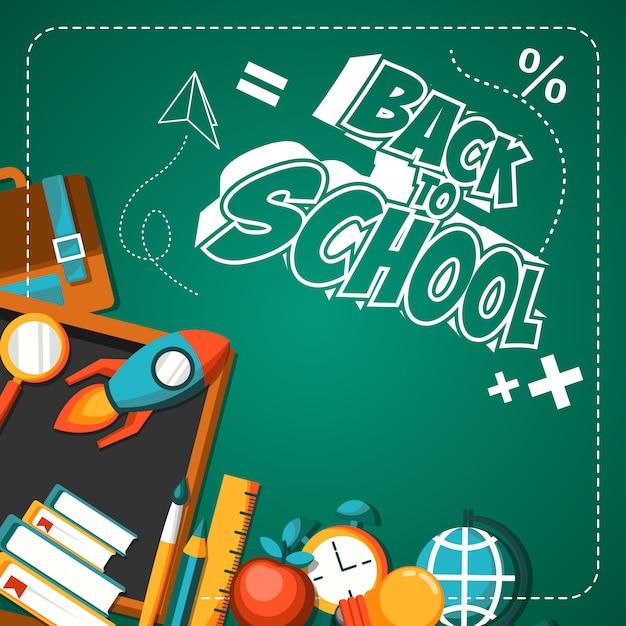 De volta à ilustração de cartaz plana de escola Vetor Premium