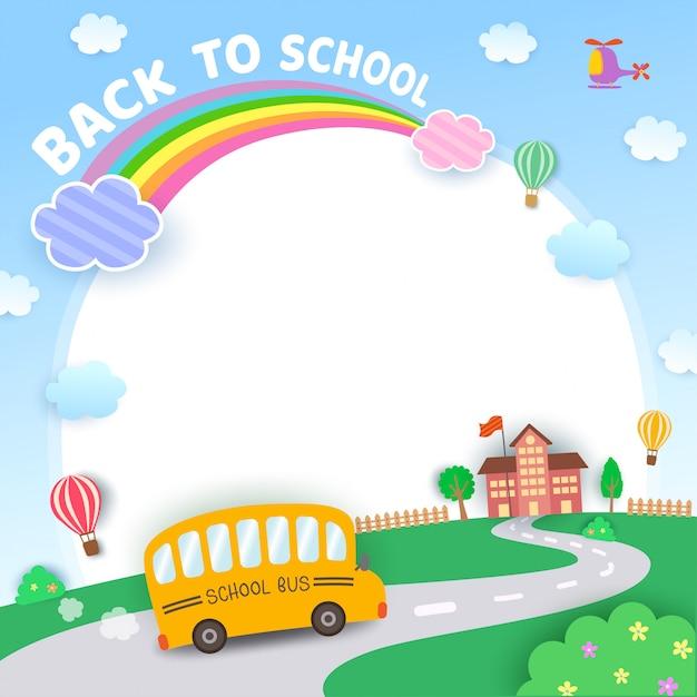 De volta à ilustração de fundo de natureza escolar Vetor Premium