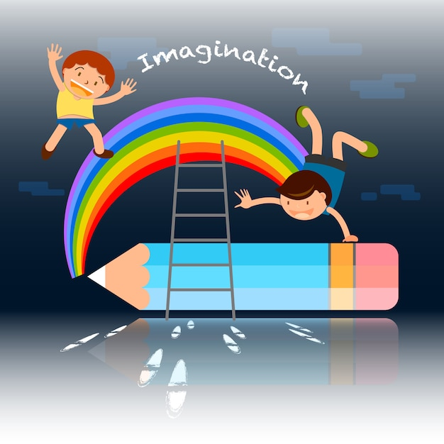 De volta à ilustração do conceito da imaginação dos desenhos animados da escola Vetor Premium