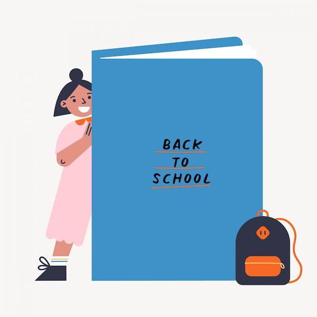 De volta à ilustração do vetor da escola com miúdo e livro. garota de pé atrás do grande livro. ilustração colorida design plano. Vetor Premium