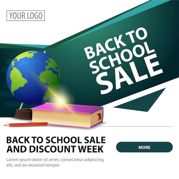 De volta à venda da escola, bandeira moderna elegante web quadrado para publicidade e promoção Vetor Premium