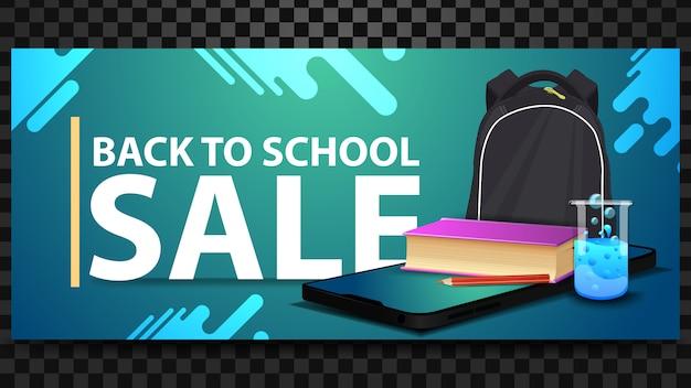 De volta à venda da escola, desconto banner horizontal com um smartphone Vetor Premium