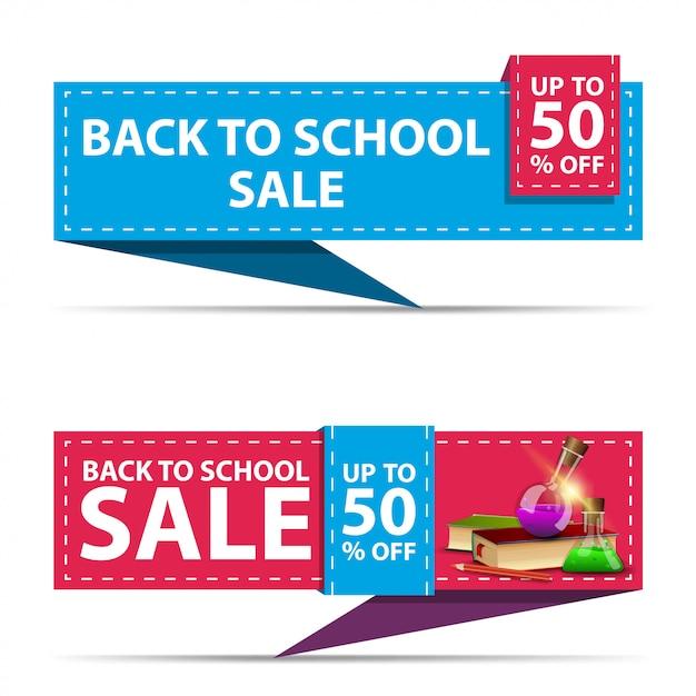 De volta à venda da escola, dois banners de desconto horizontal na forma de uma fita com livros e frascos de produtos químicos Vetor Premium