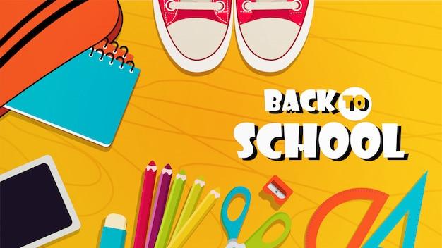 De volta ao banner da escola com elementos coloridos Vetor Premium