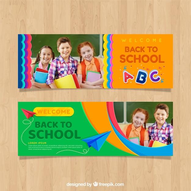 De volta ao banner da web da escola com a coleção de fotos Vetor grátis