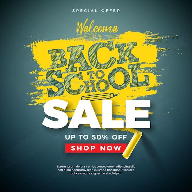 De volta ao banner de venda de escola com letra de tipografia e giz na lousa Vetor Premium