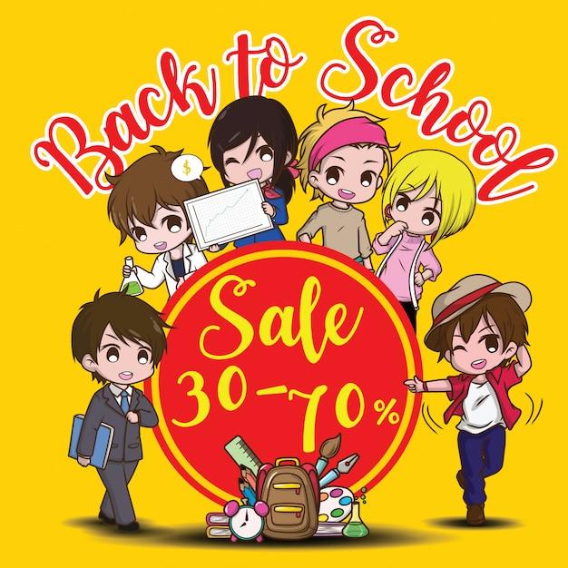 De volta ao banner de venda de escola Vetor Premium