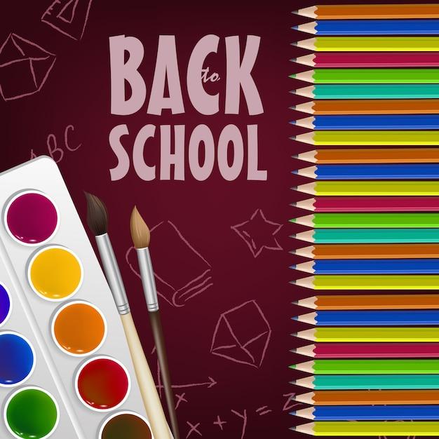 De volta ao cartaz da escola com lápis de cor, caixa de pintura Vetor grátis