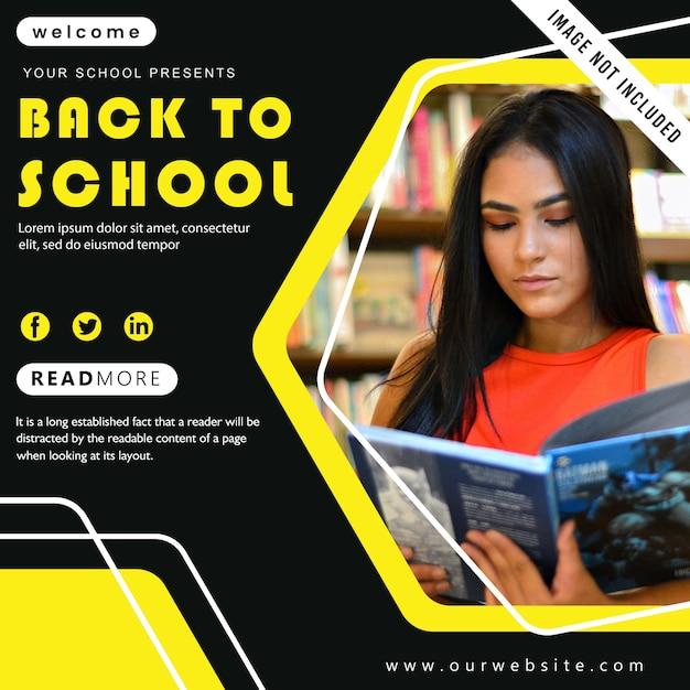 De volta ao cartaz da escola Vetor Premium