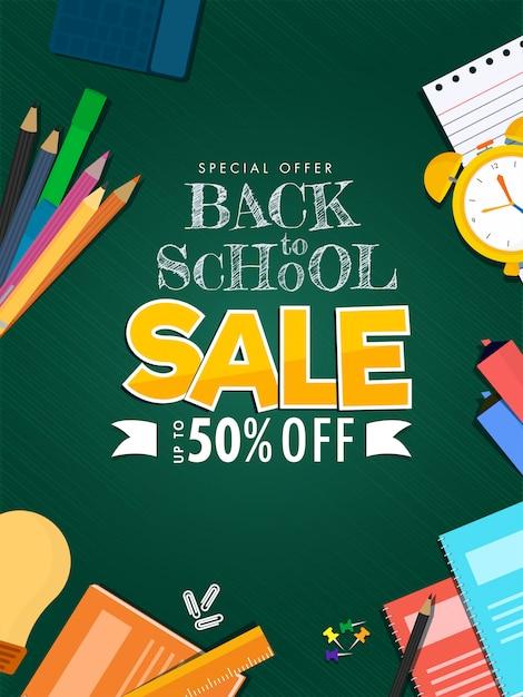 De volta ao cartaz de venda da escola e elementos de material de educação decorados sobre fundo verde. Vetor Premium