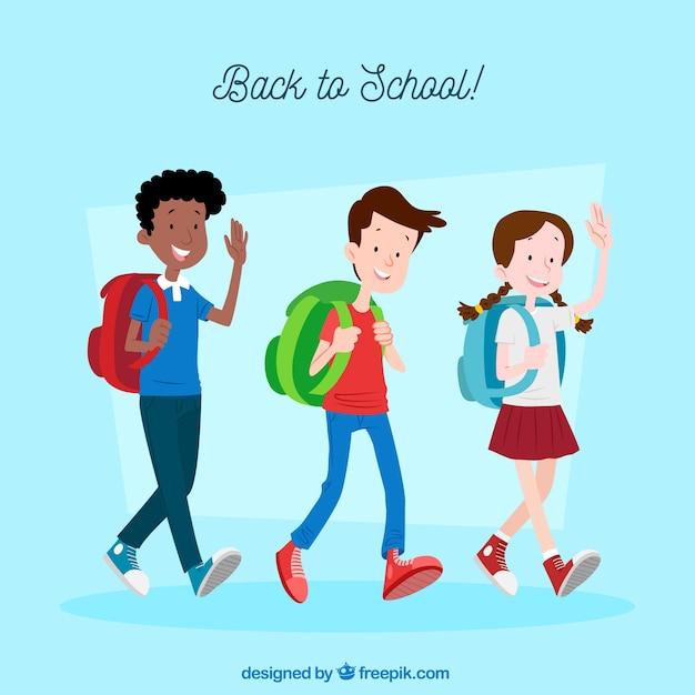 De volta ao fundo da escola com estudantes felizes Vetor grátis