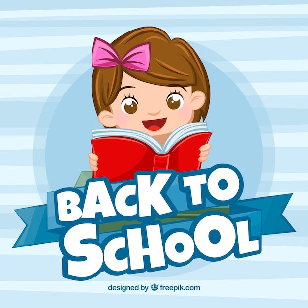 De volta ao fundo da escola com garota feliz Vetor grátis