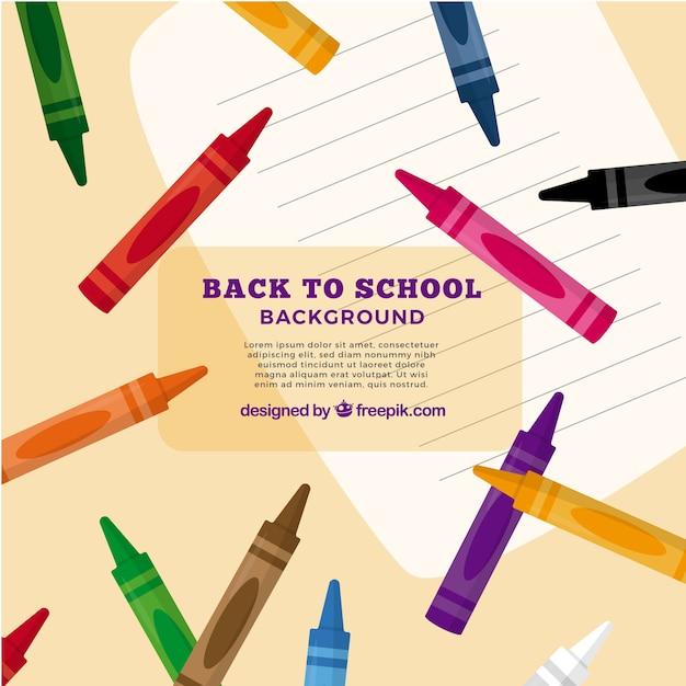 De volta ao fundo da escola com giz de cera colorido Vetor grátis