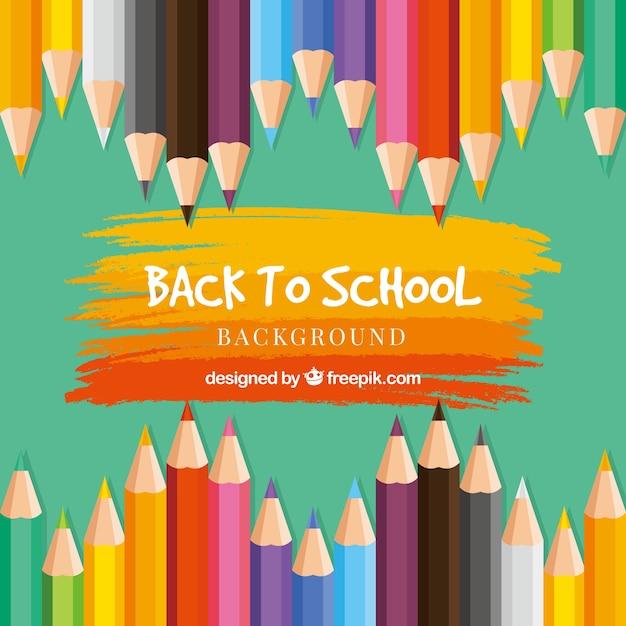 De volta ao fundo da escola com lápis de cor Vetor grátis