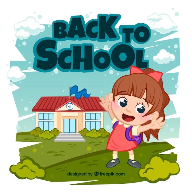 De volta ao fundo da escola com o aluno feliz Vetor grátis