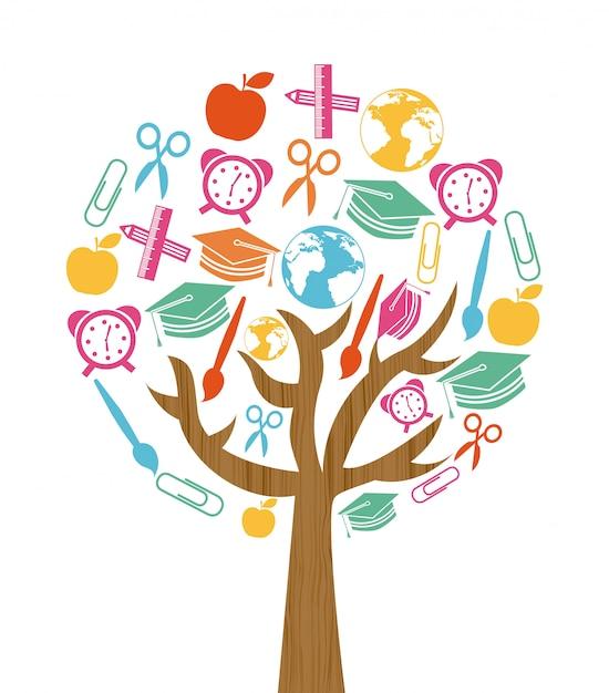 De volta ao projeto da árvore da escola sobre o fundo branco Vetor Premium