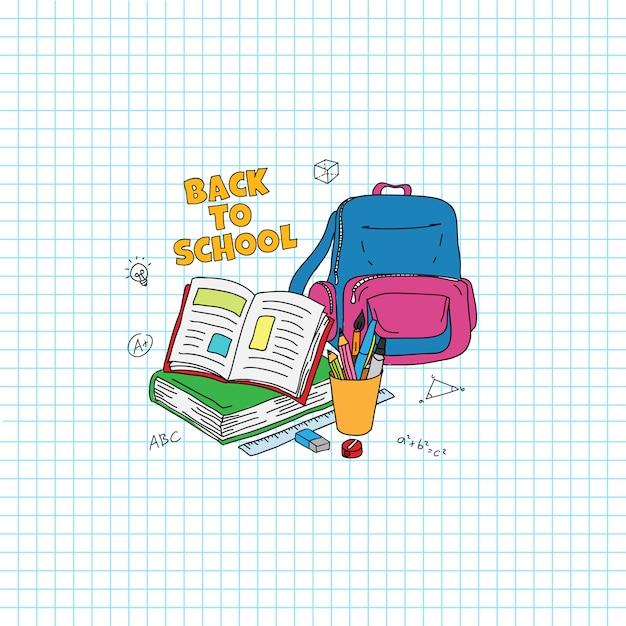 De volta ao texto da escola. estudando coisas doodle ilustração do estilo. livro aberto, saco, caneta, ilustração de lápis com fundo de papel de grade Vetor Premium