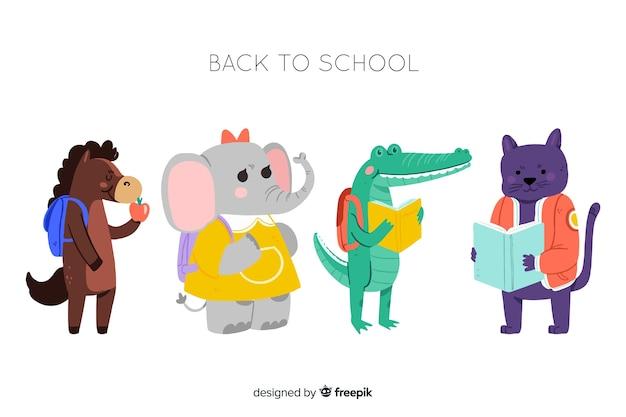 De volta aos animais da escola prontos para estudar coleção Vetor grátis