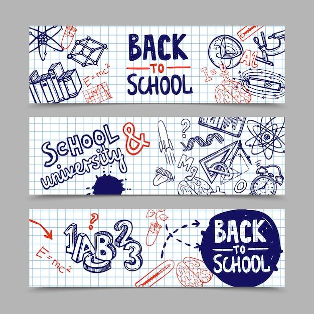 De volta aos banners da escola Vetor grátis