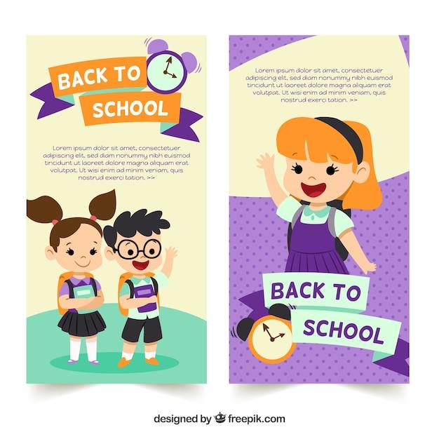 De volta aos banners de escola com design plano Vetor grátis