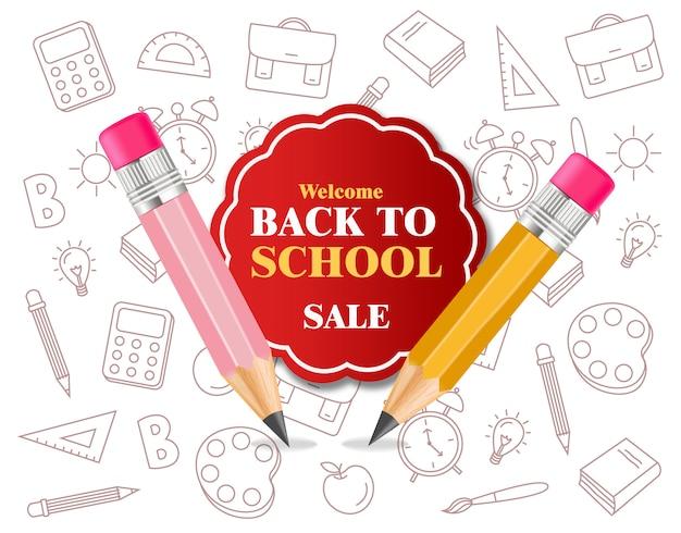 De volta aos suprimentos de lápis de escola Vetor Premium