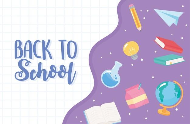 De volta às aulas, ensino fundamental cartoon suprimentos química frasco frasco lápis papel avião Vetor Premium