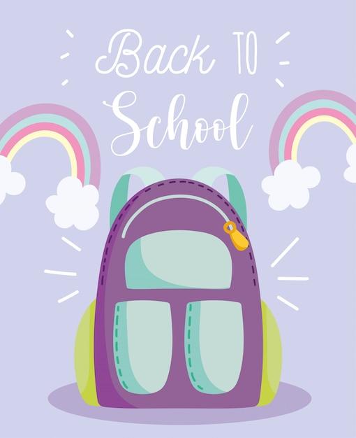 De volta às aulas, mochila arco-íris nuvens decoração desenho animado ensino fundamental Vetor Premium