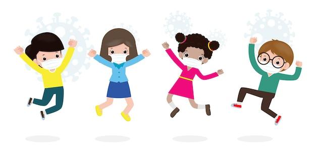 De volta às aulas para um novo conceito de estilo de vida normal. crianças felizes pulando usando máscara facial protegem o vírus corona ou covid 19, grupo de crianças e amigos vão para a escola isolado no fundo branco. Vetor Premium